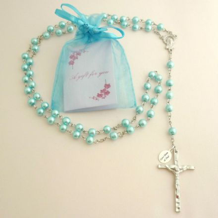 Personalised Rosary with Smaller Beads, Turquoise